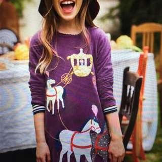 英國Boden紫色長袖棉質小馬洋裝