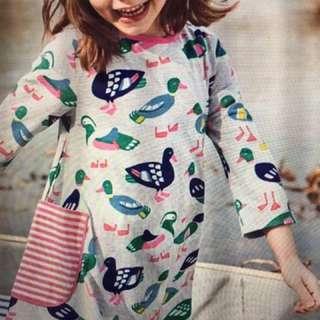 #英國boden墨綠小公主 米灰桃紅條紋小鴨 深藍鬱金香圖案洋裝