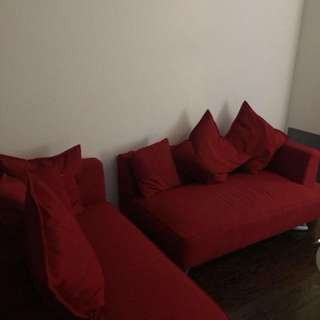 Structube L Shaped Couch Red