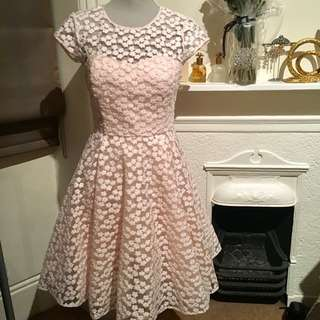 New Ted Baker Pink Natalya Floral Embroidered Lace Dress