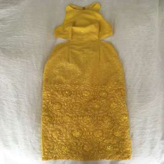ASOS cocktail yellow sequin cut out dress