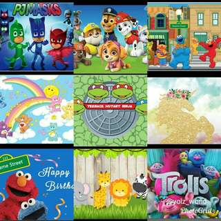 Party vinyl banner backdrops 220 x 150cm. Variety of designs
