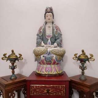 Guanyin Porcelain Figurine 33in Height