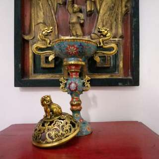Cloisonne Censer Footed Stand