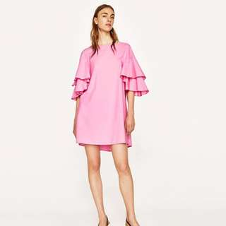 Authentic Zara double ruffle sleeves A line dress