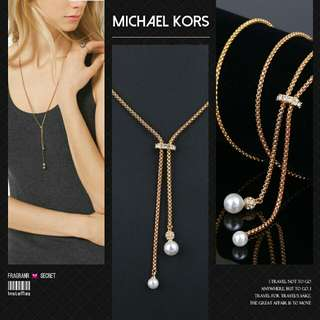 Michael Kors Gold Tone Glass Pearl Pendant Necklace秋冬最新款水晶鑲嵌珍珠毛衣鏈