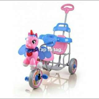 FAMILY DOUBLE SEAT TRICYCLE UNICORN duo  seat twin seat bicycle tricycle   RM240 SM/SS