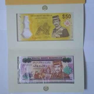 Brunei BN 50. Golden & Silver Jubilee Note set.