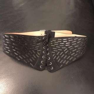 Alaia black seude leather belt
