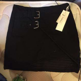Black quilted with asymmetrical hem skirt size ten