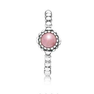 PANDORA October Pink Opal & Silver birthstone ring