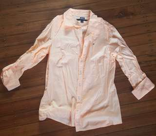 Tommy Hilfiger Orange and White Shirt