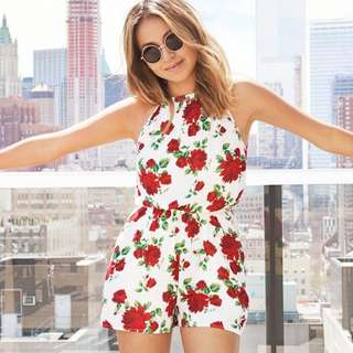 H&M Floral Red Roses Romper / Playsuit