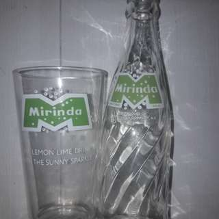 Vintage bottle and mirinda glass