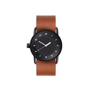 [極新二手]瑞典 Tid No.1 Watch 中性手錶 黑錶面 咖啡色皮革錶帶 可替換