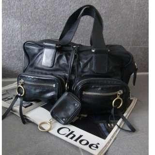CHLOE 肩揹包 黑色 細膩小羊皮 大軟包多功能袋 義大利製造