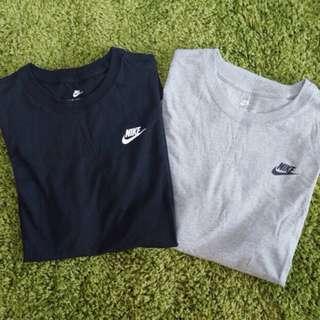 Nike黑色圓領皮邊T