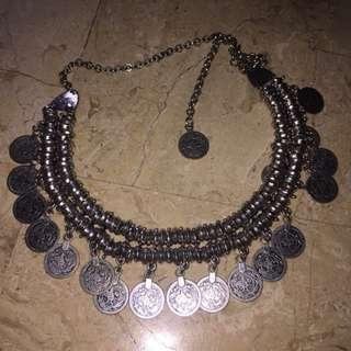 Tribal Bohemian Silver Coin Necklace