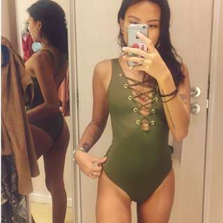 One Piece Swimsuit Criss Cross