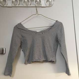 Stripped garage long sleeve cropped top