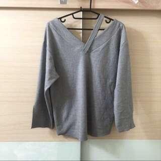 [特價]近全新韓製灰色微開岔袖上衣
