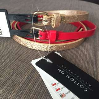 Women belt (glitter gold & red)