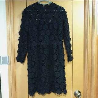 Valentino style quality cotton lace 靚料出口剪牌裙 navy blue dress
