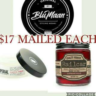 [$14 Each] Blumaan Styling Meraki, Imperial Classic And Railcar Fine Goods Supreme Hold Pomade