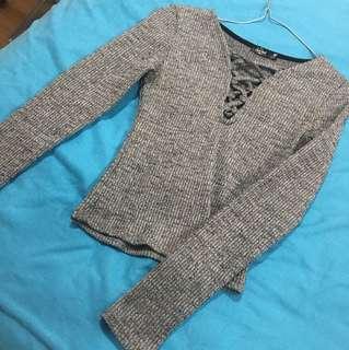Grey ribbed long sleeve size s