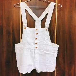 ✅Zara白色吊帶短褲