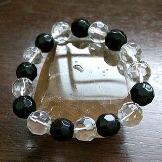 Onyx n Clear Crystal Bracelet