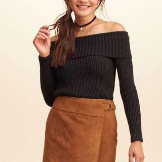 Hollister Black Off the Shoulder Sweater