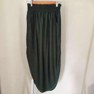 Sheike Green High Waisted Satin Midi Skirt