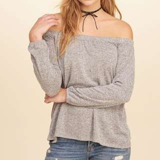 Hollister Grey Off The Shoulder Top