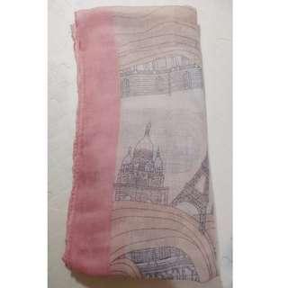 浪漫巴黎粉嫩色系 棉麻絲巾