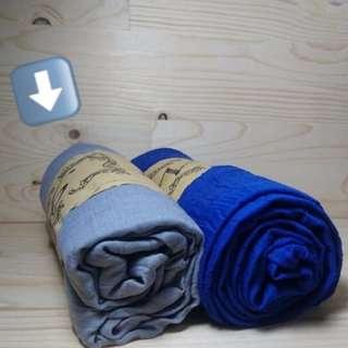 簡約素面 灰 棉麻絲巾