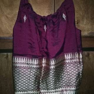 Boho maroon and gold embroidered top