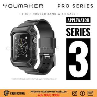 Youmaker Pro For Apple Watch Series 3/ Series 2 42mm/ 38mm Rugged Shockproof Band With Case Casing Cover