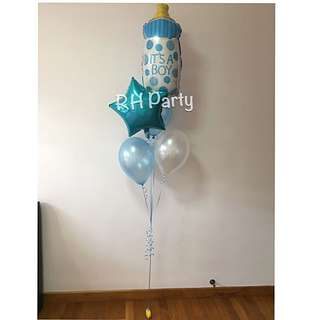 (17/12) include helium baby milk bottle + star + latex bouquet (baby shower / full month )