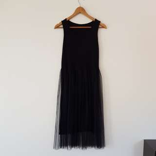 Black stretchy dress with tulle skirt