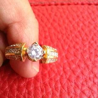 Cincin model diamond perak poles mas kuning