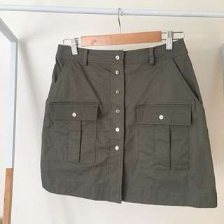 Forever New Khaki Green Skirt with Silver Buttons