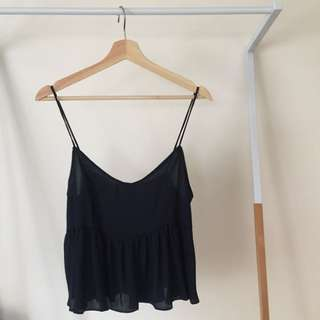 Glassons Navy Cropped Top with Frill Detail
