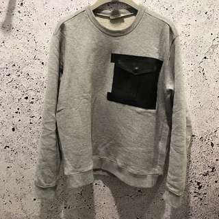 Valentino [RUNWAY] leather panel cotton sweater