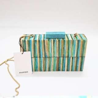 Mango Original Boxy Clutch Party Bag Green Tosca Stripes