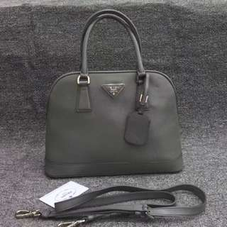 Authentic PRADA Saffiano LUX Grey Leather Bag