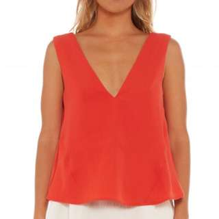 Red Cropped Tank Top by C/MEO COLLECTIVE