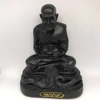 LP Thuad Bucha B.E.2560 Medium sized Bucha sitting on cobra wat Chang hai
