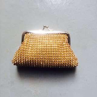 Gold crystal rhinestone purse