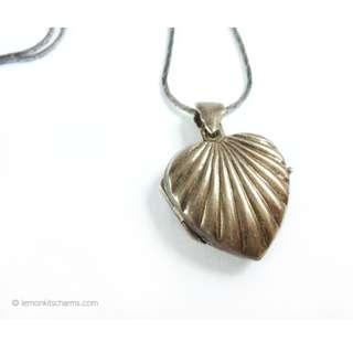 Vintage Sterling Silver Heart Locket Pendant Necklace, nk1047-c